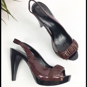 Burberry Brown Patent Leather Open Slingback Heels
